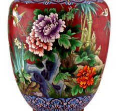 Red Handpainted Cloisonne Vase