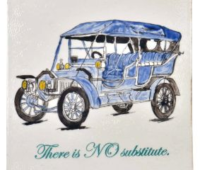 Blue Hand Drawn Vintage Car sketch Ceramic Tile
