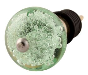 Mint Bubble Glass Wine Stopper in Golden Fitting