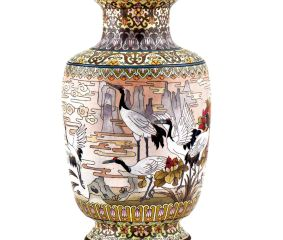 White Cloisonne Enameled  Vase White with Birds and Flowers