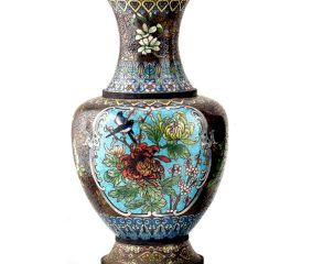 Vintage Cloisonne Black Vase with Bird and Flowers