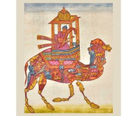 Painting Of  Mughal Composite Camel Rider