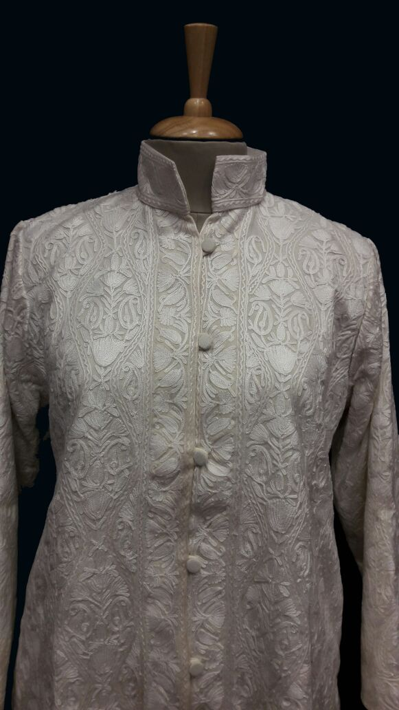 Designer Collection Jackets Short Sami Pashmina Fabric In White