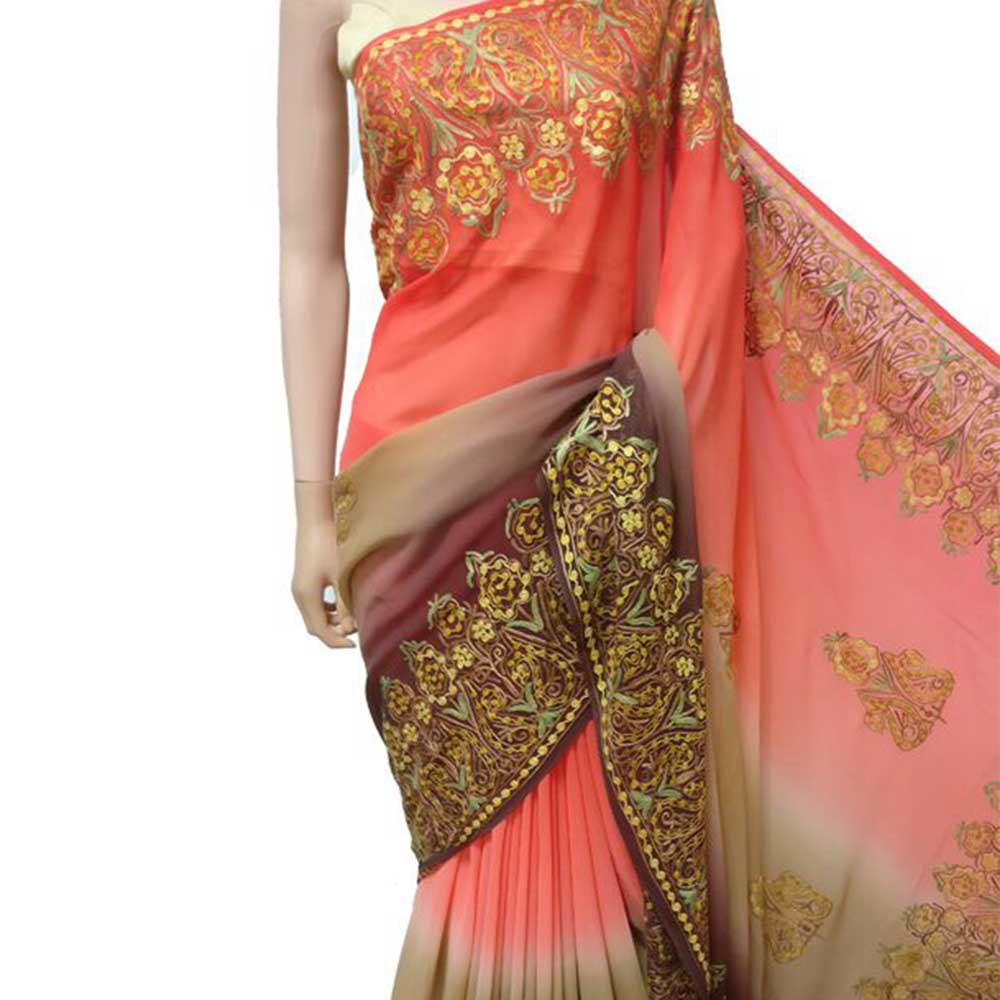 Orange Beige and Maroon Hand Embroidered Georgette Sari