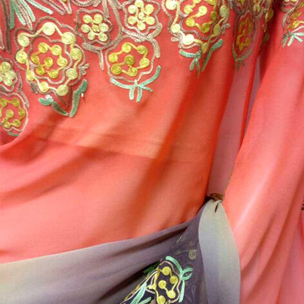 Orange Beige and Maroon Hand Embroidered Georgette Sari