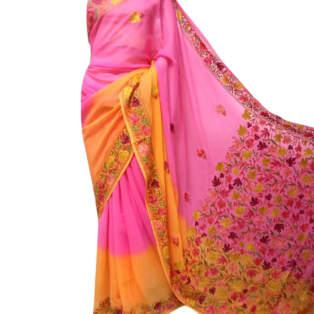 Pink Yellow Floral Embroidered Georgette Sari