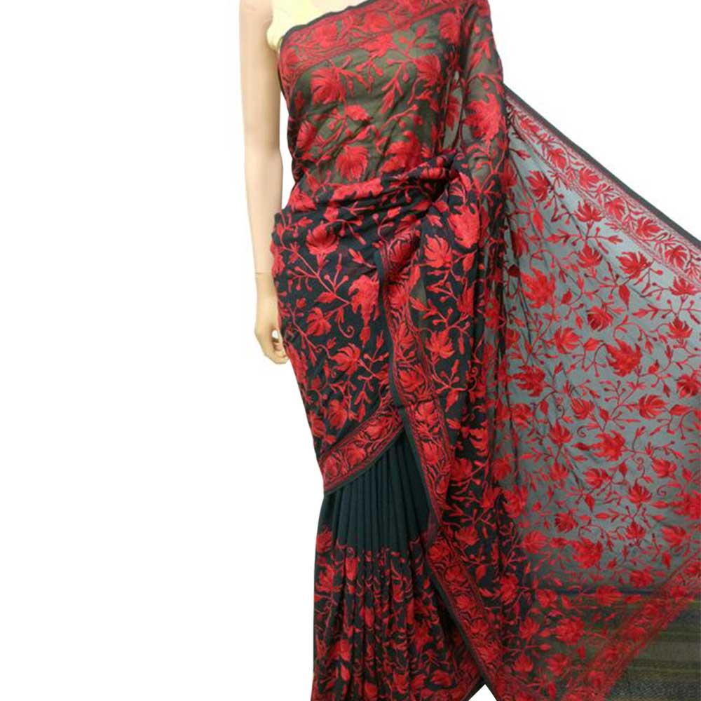 Black Red Floral Embroidered Georgette Sari