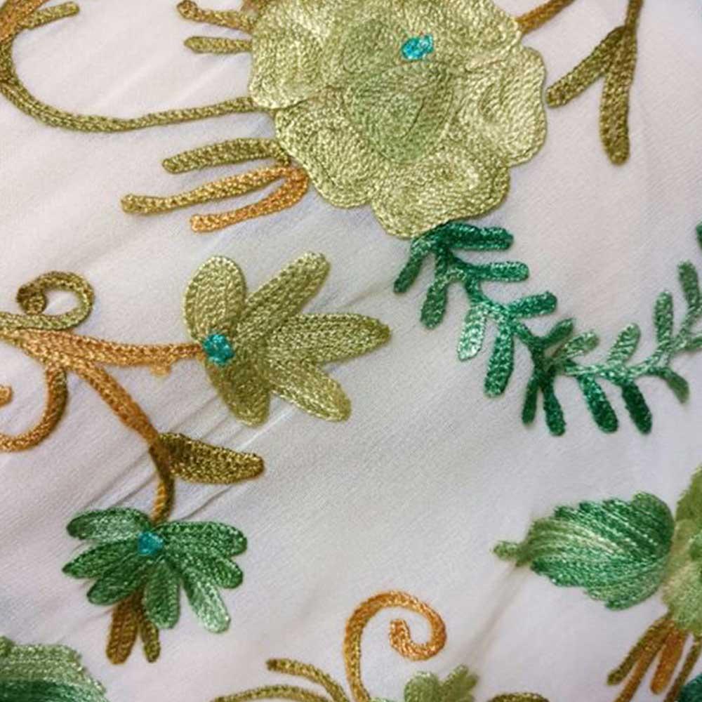 Creamy White Floral Embroidered Georgette Sari