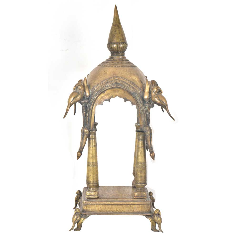 Hindu Temple Intricately Carved Brass With Parrot Figurines For The Home