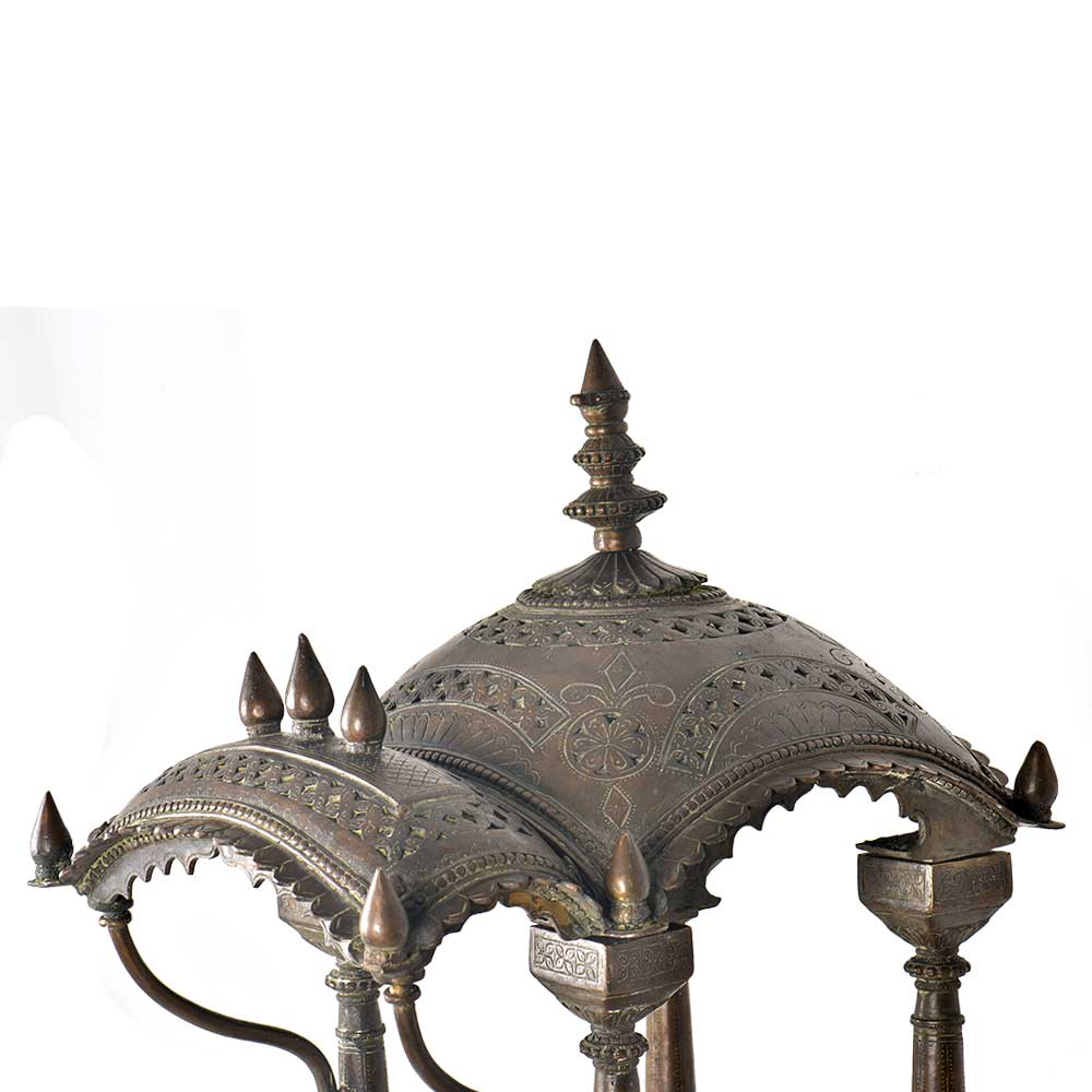 Brass Hindu Temple Intricately Dome Carved Dome with Prabhavali and Steps