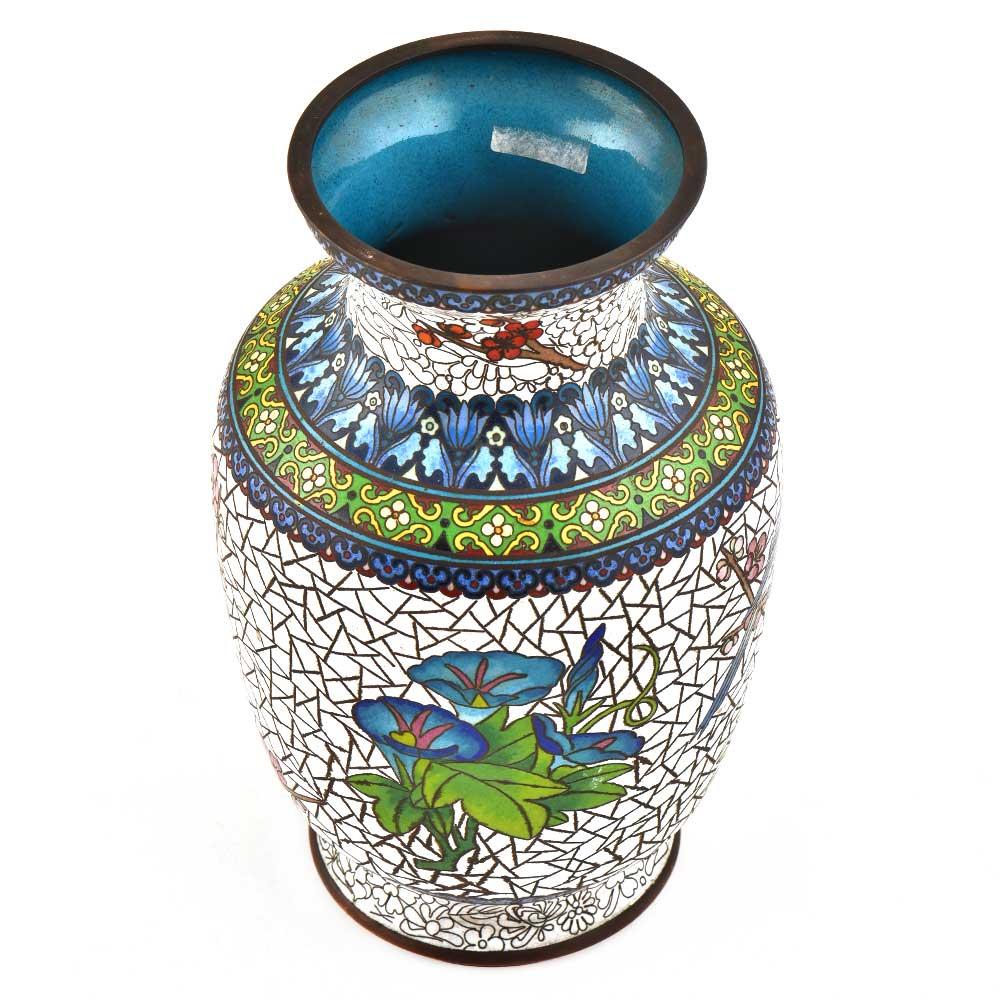 Cloisonne Enamel Vase Decorated with Bird And Crackled Flowers Design