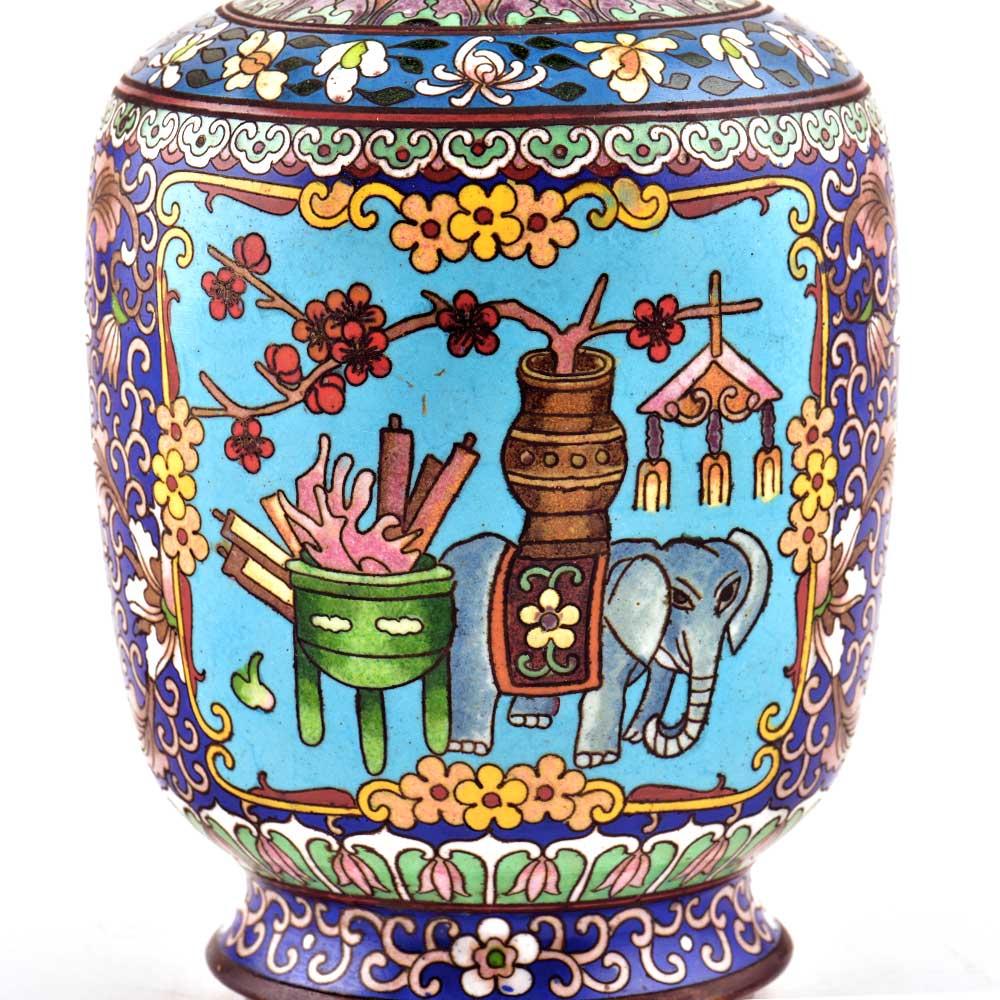 Vintage Blue Elephant Cloisonné Enamel Jar
