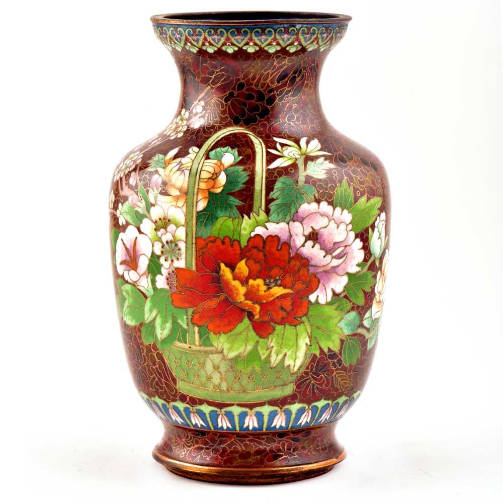 Vintage Rust W Orange Lotus Flower Pink Butterfly Cloisonne Vase