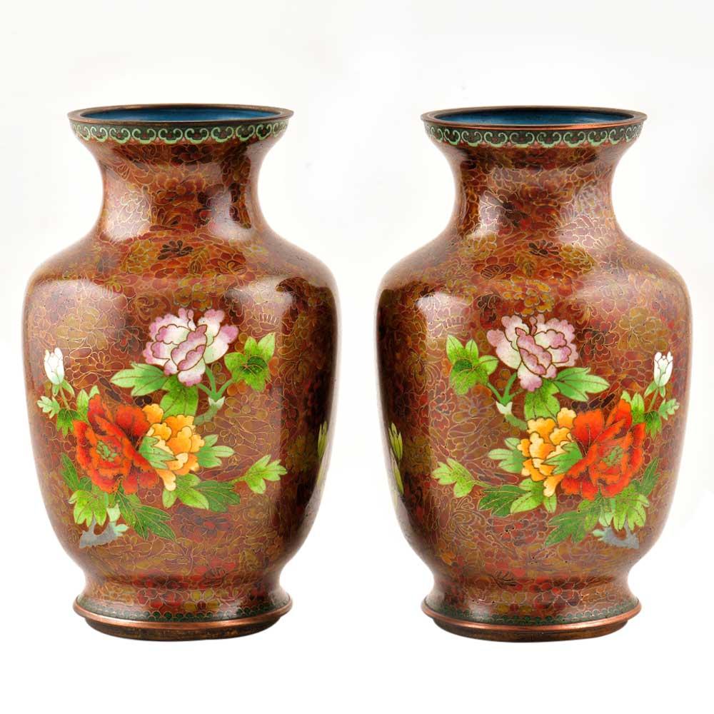 Cloisonne Vases  Rust Floral Ground Polychrome Flower Baskets(Set of 2)