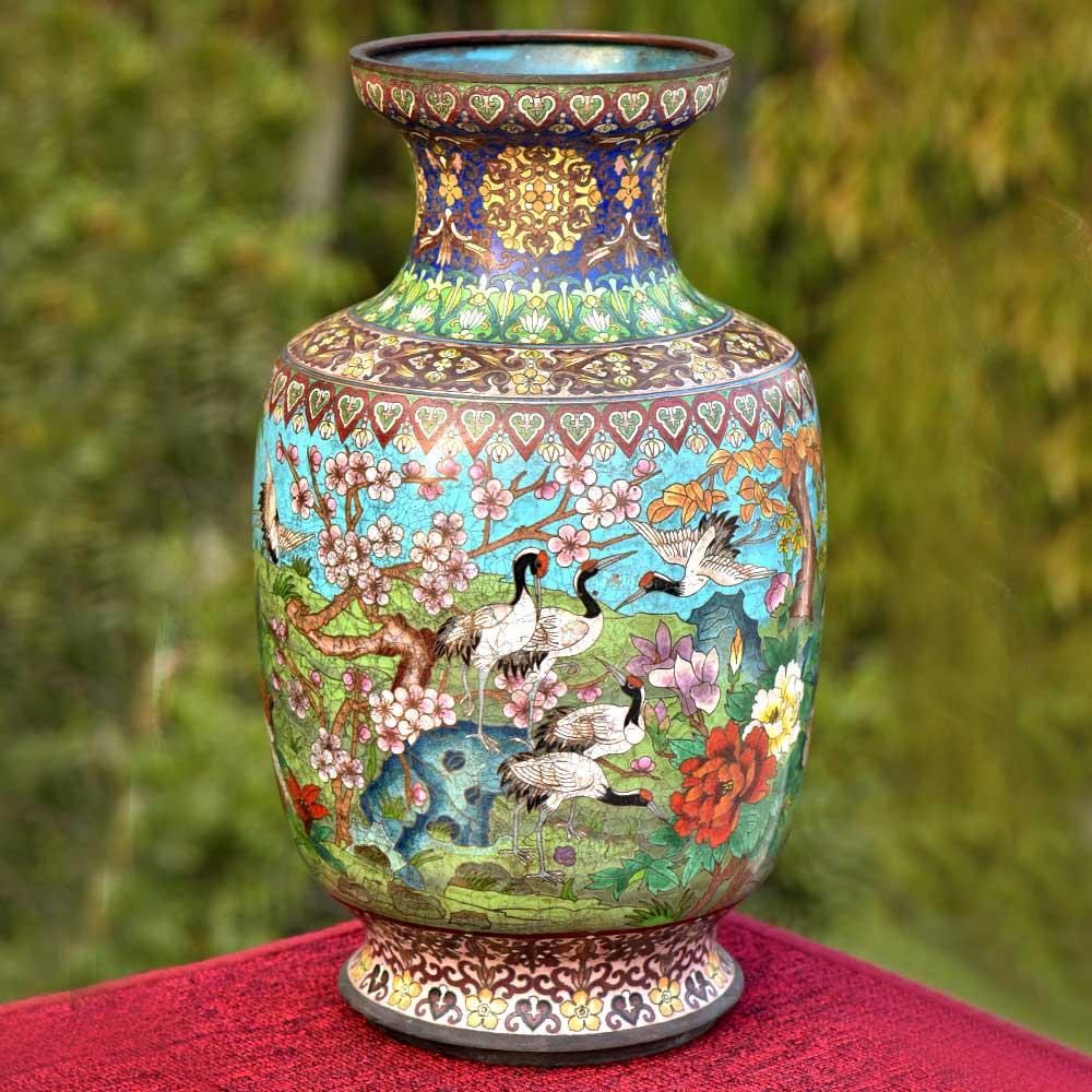 Blue Cloisonne Vase w/CRANES & Flower Blossoms