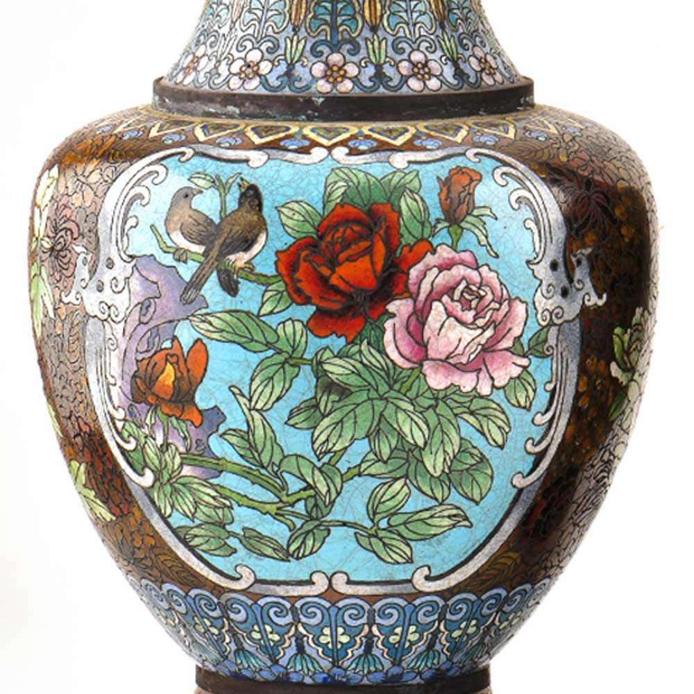 Vintage Cloisonne Black Vase with Bird and Flowers
