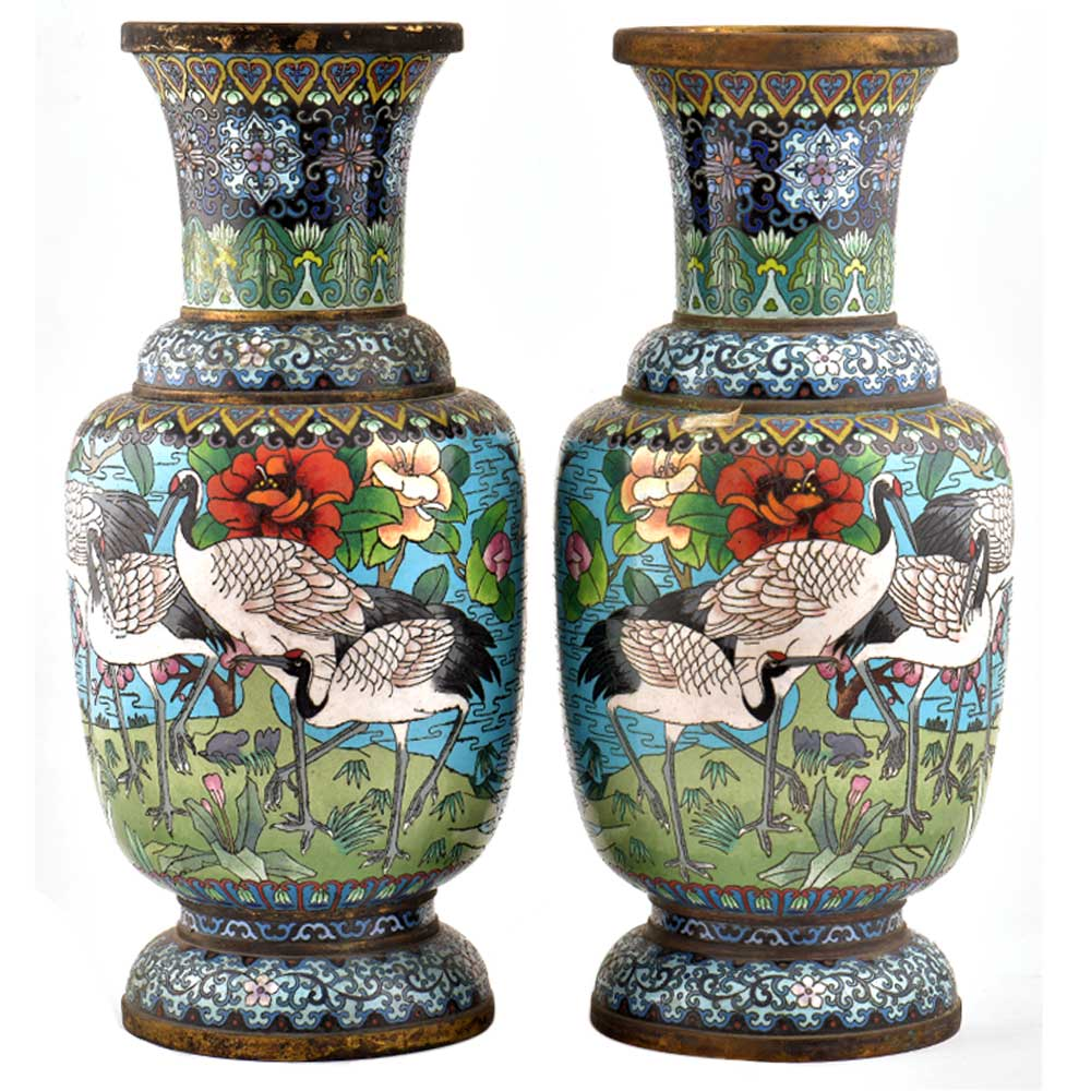 Blue Cloisonne Vase w/CRANES & Flower Blossoms(Set Of 2)