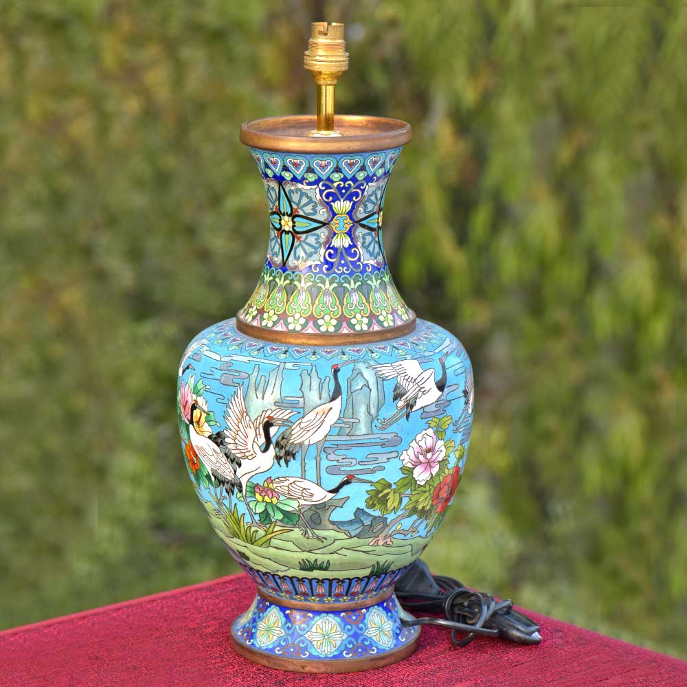 Cloisonne Enamel Scenic Crane And Clouds Floor Vase(Set Of 2)