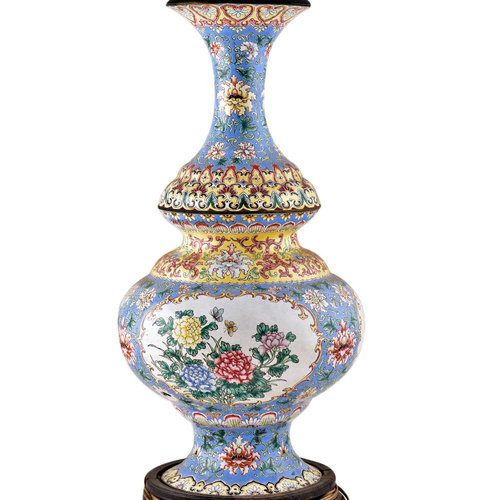 Pair of Blue Cloisonne Vases Converted into Lamps