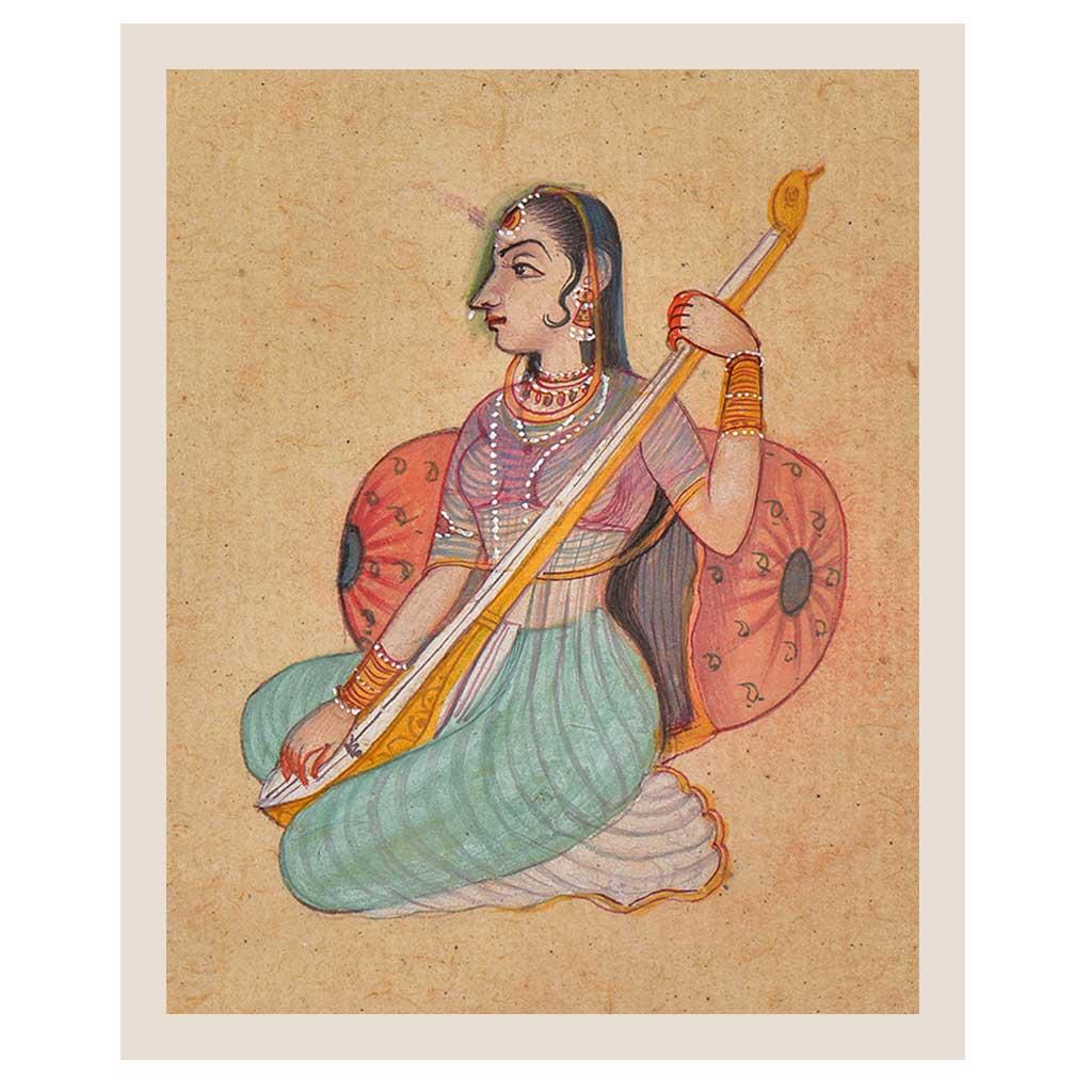 Painting Of  A Rajasthani Lady Playing Tambura