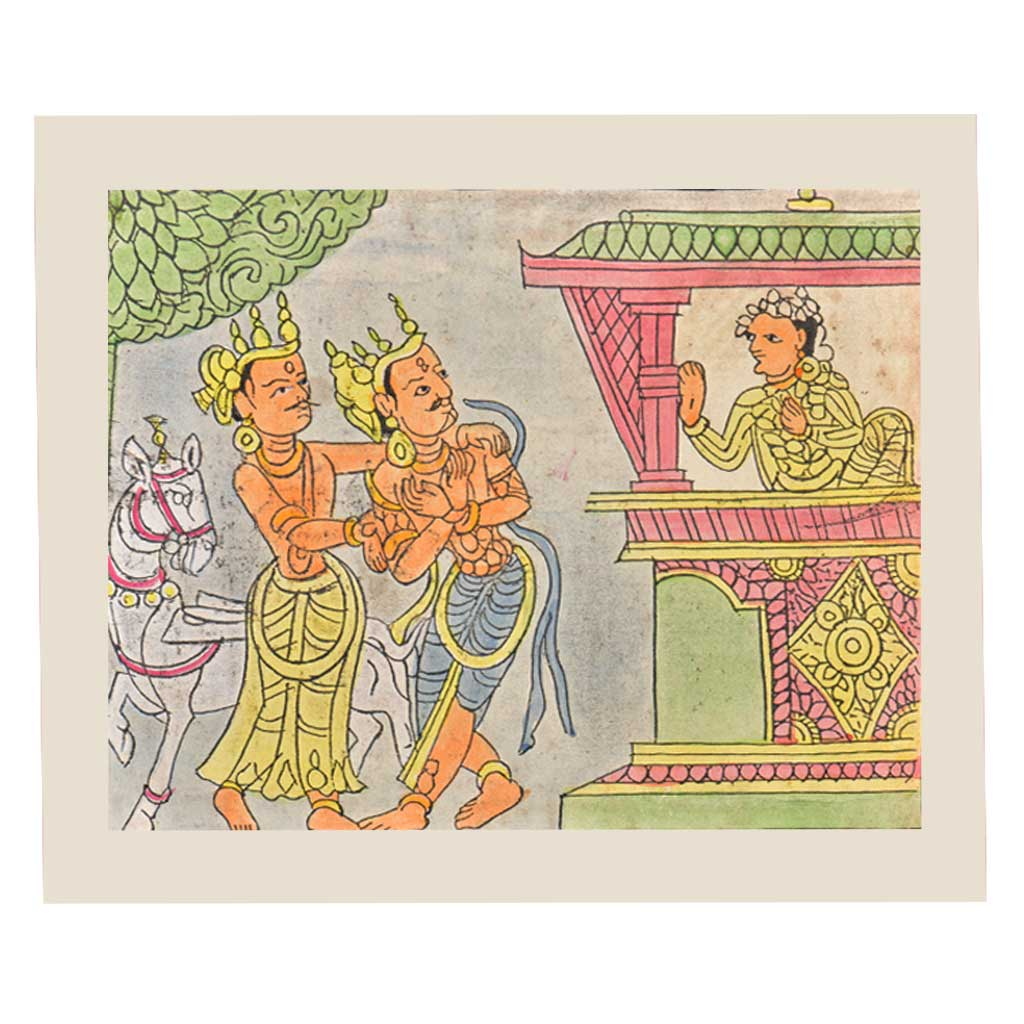 Painting of a Confrontation Scene Between Three gods