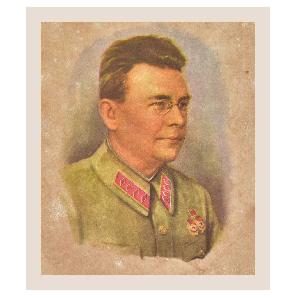 Print Of An Old German Soldier Wearing Specs