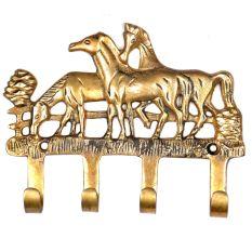 Vintage Brass Horse Hanging Four Key Ring Hook