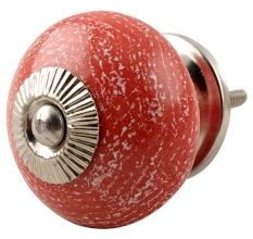 Red Ceramic Floral Drawer Knob