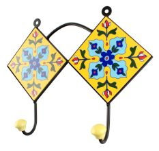 Navy Blue Ceramic Floral Tiles Hooks
