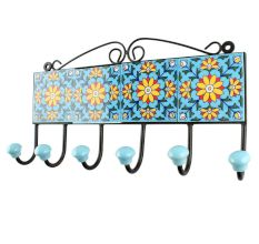 Turquoise Sunflower Ceramic Tiles Hook Online