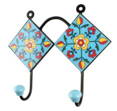 Turquoise Floral Ceramic Tiles Wall Hook