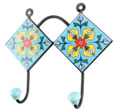 Turquoise Base Red Tiny Flower Ceramic Tiles Hook