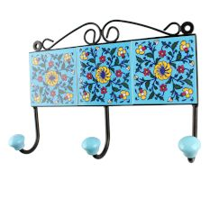 Turquoise Base Yellow Wheel Flower Ceramic Tiles Hooks
