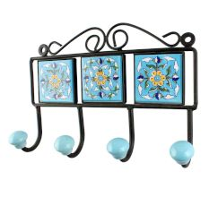 Turquoise Ceramic Floral Tiles Hook