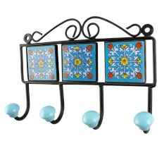 Turquoise Ceramic Floral Tiles Wall Hook