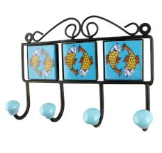 Turquoise Fish Ceramic Tiles Hook