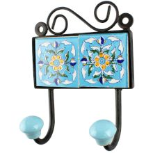 Turquoise Floral Ceramic Tiles Hook
