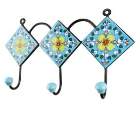 Pea Green Ceramic Floral Tiles Hook