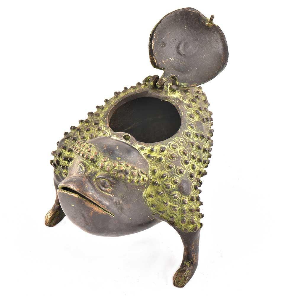 Brass  Rare Tribal Frog Storage Box With Patina