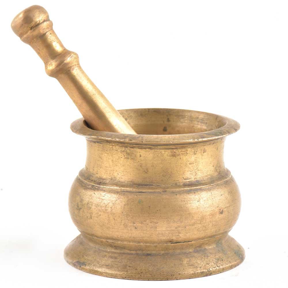 Handmade Mortar Pestle Made of Solid Brass