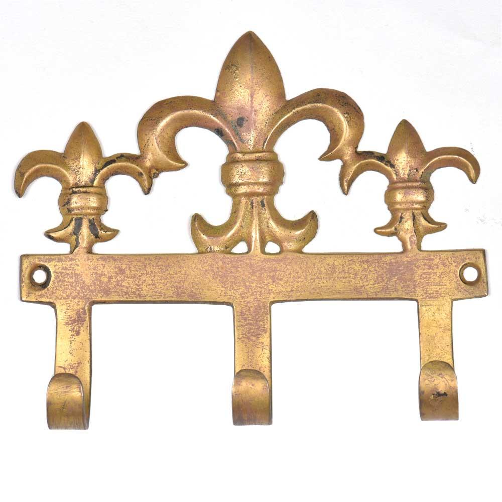 Set of 3  Brass Fleur De Lis Triple Wall Hooks