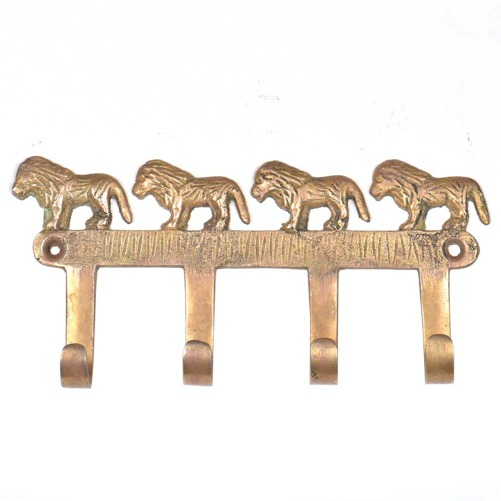 Hand Made Brass Wall Hooks With 4 Lions