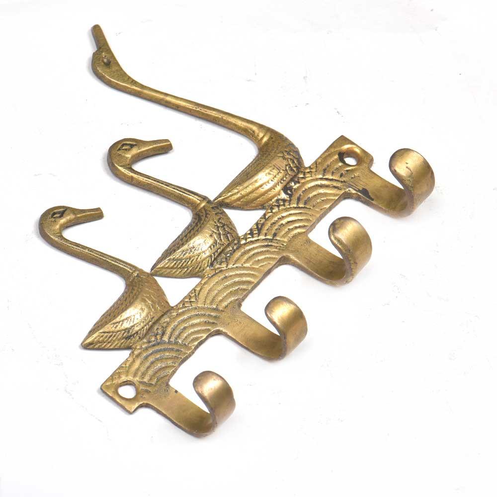 Vintage Brass Key Holder for 4 keys Wall Decor 3 Ducks Design