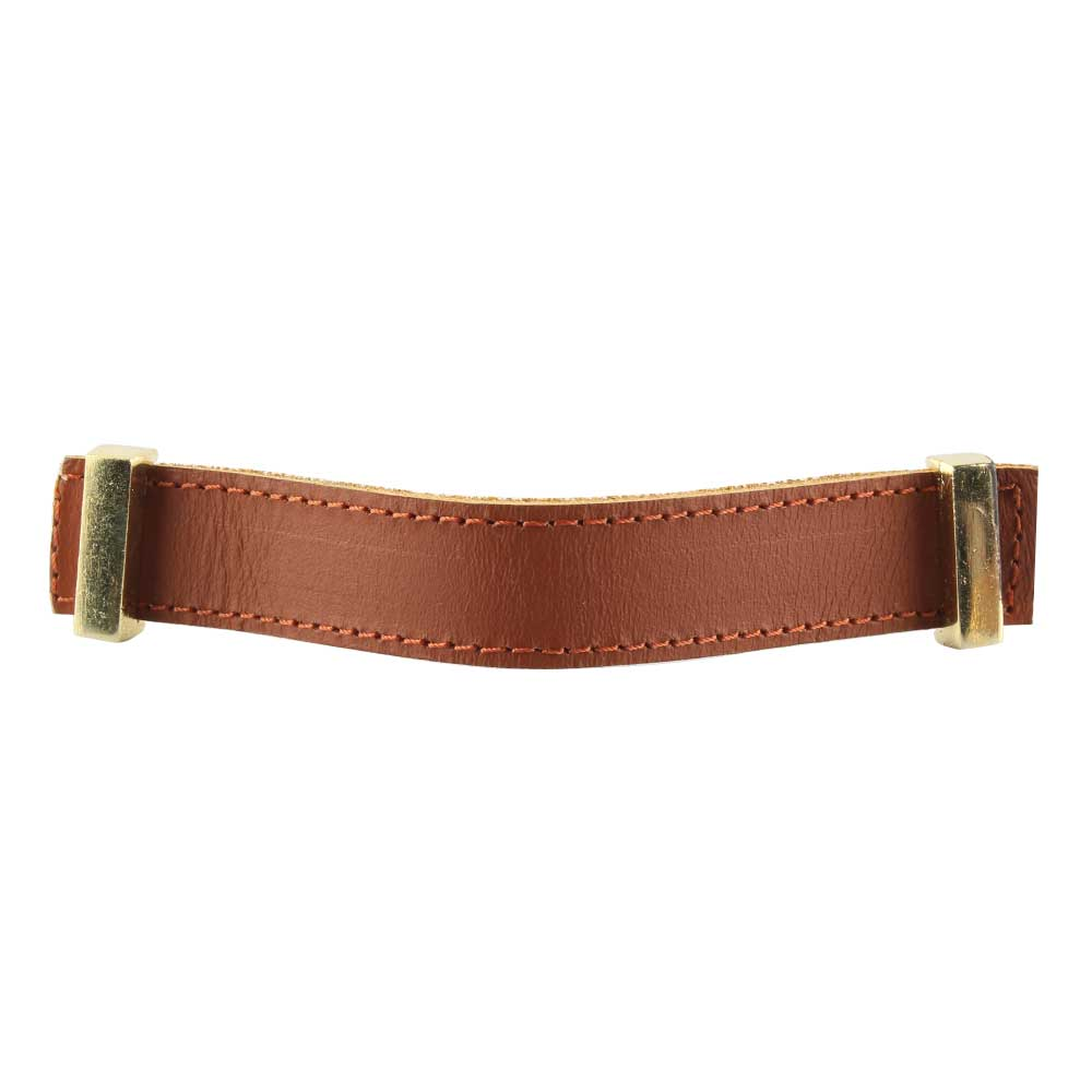 Brown Faux Leather Pull Handle