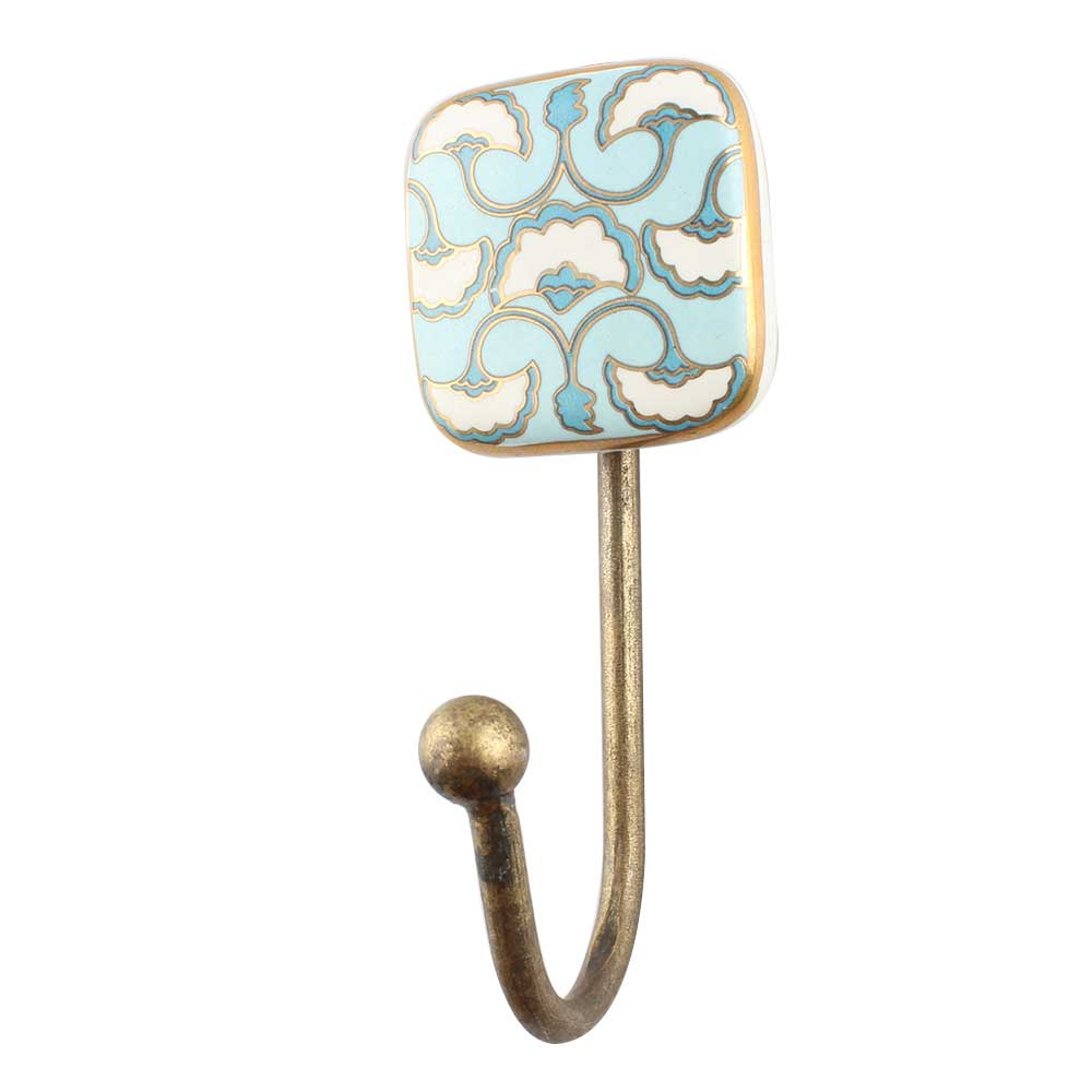 Turquoise Sea Shell Square Ceramic Wall Hook