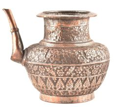 Finely Engraved Copper Water Pot With A Spout