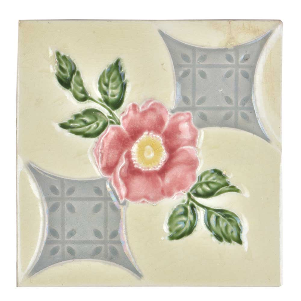 Vintage Ceramic Tile Of Pink Flower With Leaves
