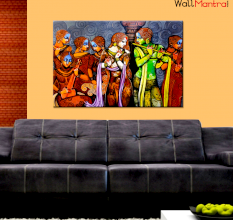 Radha Krishna with Gopi Wall Painting Premium Quality Canvas