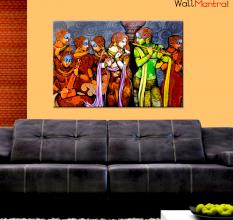 Radha Krishna with Gopi Wall Painting Premium Quality Canvas
