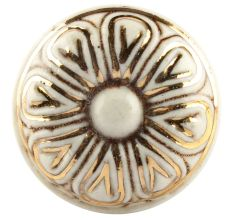 Golden Flower Ceramic Cabinet Knob Online